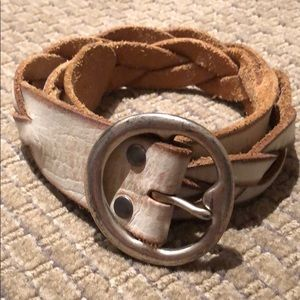 Leather braided belt with solid brass buckle